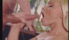 Silvia Saint jerking and eatin cum