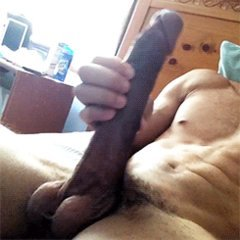 toned guy with big cock slowly stroking