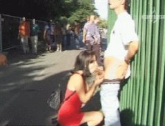 sucking in the street