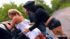 Cosplay Woman Police Officer in a Outdoor Threesome