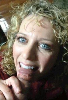 Curly blonde slut sucking